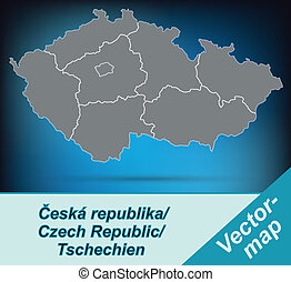 Map of Czech Republic with borders in bright gray