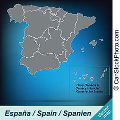 Map of Spain with borders in bright gray
