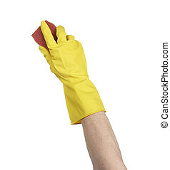 A yellow cleaning glove with a sponge against a white...