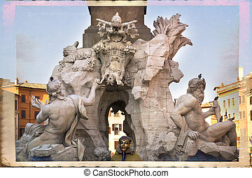 Rome - Fountain of the Four Rivers Fontana dei Quattro Fiumi...