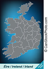 Map of Ireland with borders in bright gray