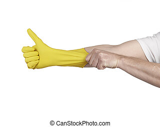 Latex Glove For Cleaning on hand isolated on white...