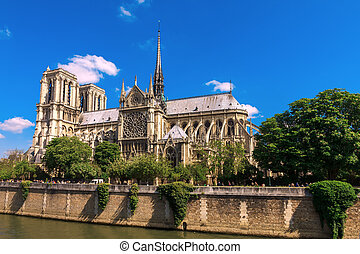 Cathedral of Notre Dame de Paris - The southern facade of...