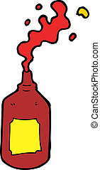 cartoon squirting ketchup bottle