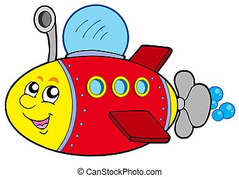 Cartoon submarine on white background - isolated...