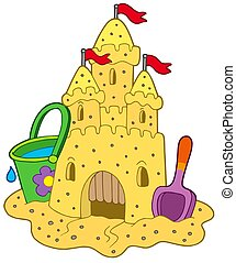 Sand castle on white background - isolated illustration
