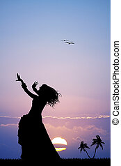 Hawaiian woman at sunset - illustration of Hawaiian woman at...