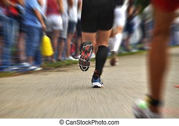 Marathon runners in ironman triathlon (Klagenfurt, Austria)