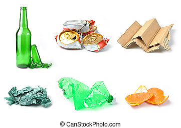 recycling - Sample of trash for recycling isolated on white...