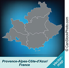 Map of Provence-Alpes-Cote d Azur with borders in bright...