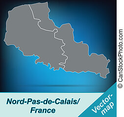 Map of North-pas-de-calais with borders in bright gray