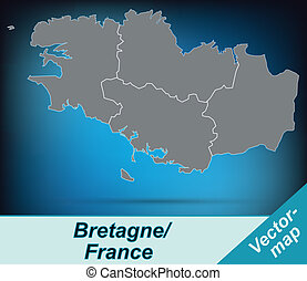 Map of Brittany with borders in bright gray