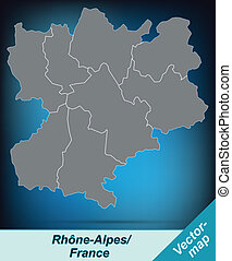 Map of Rhone-Alpes with borders in bright gray