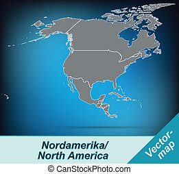 Map of North America with borders in bright gray