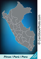 Map of Peru with borders in bright gray
