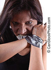 hostage - kidnapped young woman, hostage closeup on white...