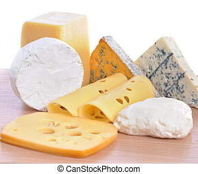 Various types of cheeses isolated on a white background.