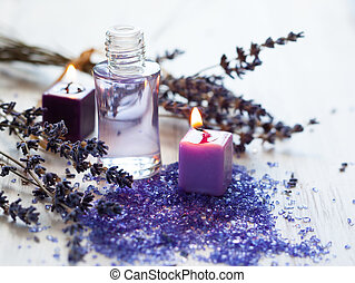 lavender spa treatment - Dried lavender flowers with a...