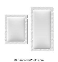 White blank sachet packaging
