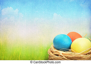 Grunge easter background. Easter eggs in nest on meadow.