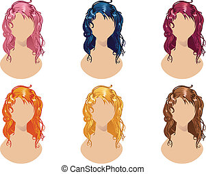 Wavy Hair Style - Set of wavy hair style in different...