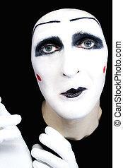retrato, mimo, blanco, guantes, triste