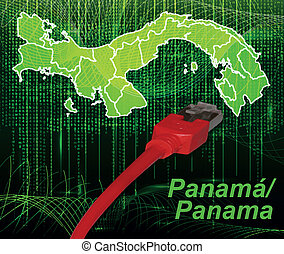 Map of Panama with borders in network design