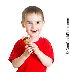 kid boy eating ice cream isolated