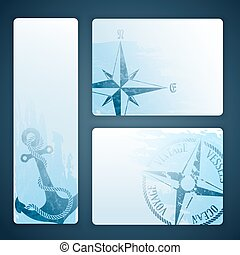 Nautical banners - Nautical background with wind rose...