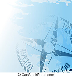 Nautical background with wind rose compass