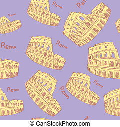 Sketch Coliseum, vector vintage seamless pattern eps 10