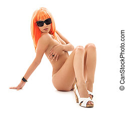 girl in shades with orange hair - topless girl in shades...