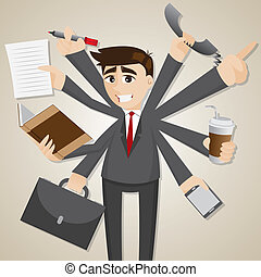cartoon businessman multi tasking - illustration of cartoon...