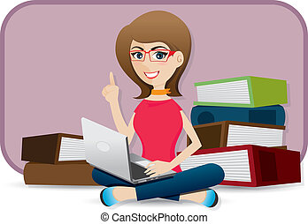 cartoon cute girl using laptop - illustration of cartoon...