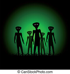Silhouettes of aliens on the green background