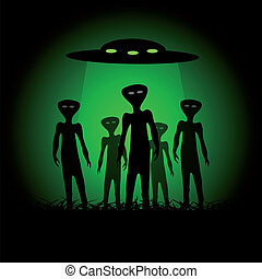 Silhouettes of aliens and spaceship on the green background