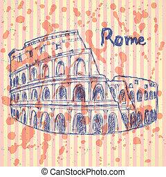 Sketch Coliseum, vector vintage background eps 10