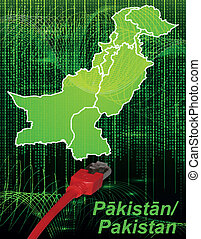 Map of Pakistan with borders in network design