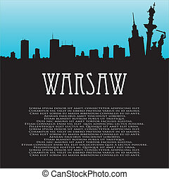 Vector background with Warsaw - Vector background with...