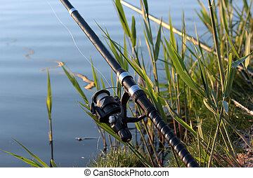 fishing rod on silent lake's coast