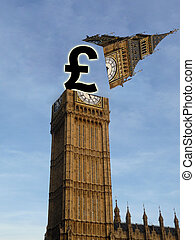 Pound Out Of Parliament - British pound popping out of the...