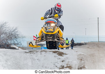 Jump of sportsman on snowmobile - Tyumen, Russia - March 08...