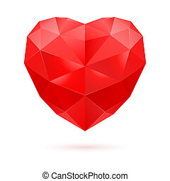 Red polygon heart - Red polygonal heart on white background...