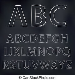 Vector sketched chalky alphabet on blackboard - Abstract...