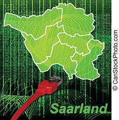 Map of Saarland with borders in network design