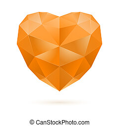Orange polygon heart - Orange polygonal heart on white...