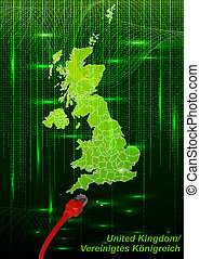 Map of England with borders in network design