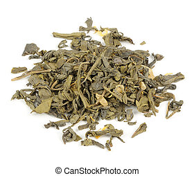 Dried Green Tea Leaves Isolated on White Background - A pile...