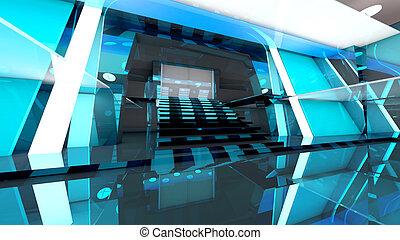 Futuristic entrance hall - A futuristic entrance hall to a...