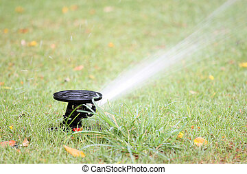 water spread out from the Sprinkler of garden equipment on...